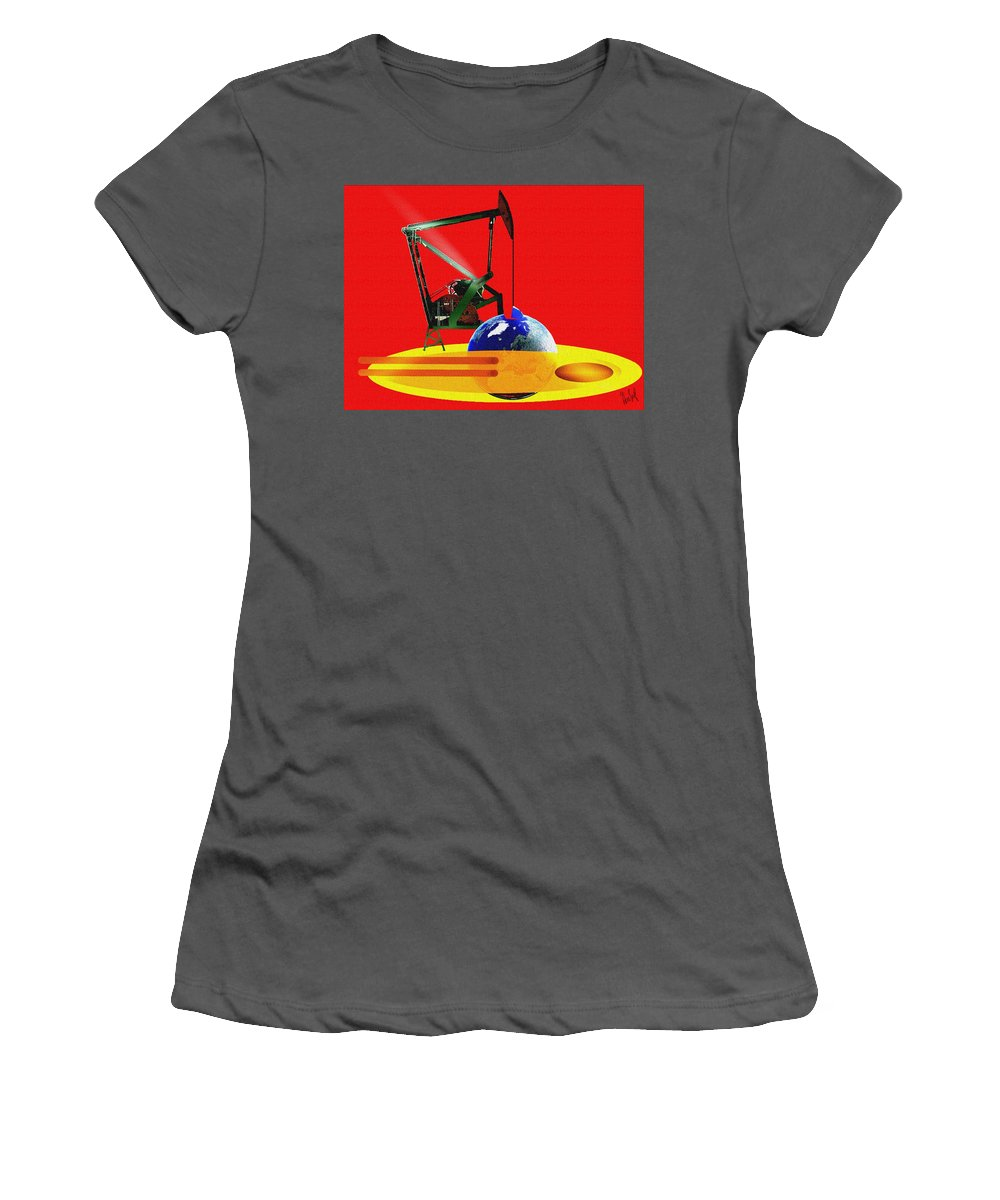 Urgent Women's T-Shirt (Athletic Fit) featuring the digital art oil by Helmut Rottler