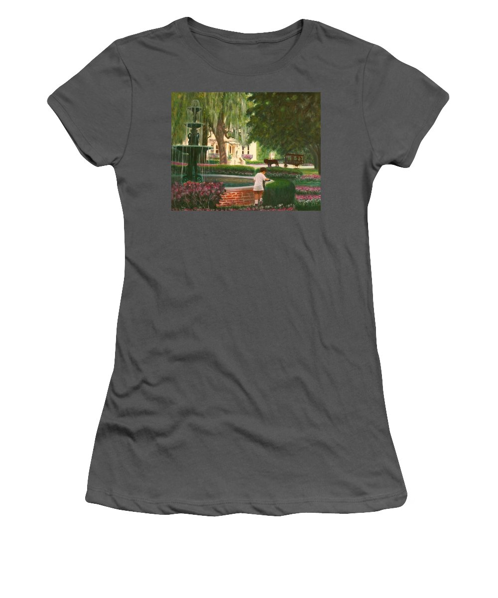 Savannah; Fountain; Child; House Women's T-Shirt (Athletic Fit) featuring the painting Old And Young Of Savannah by Ben Kiger