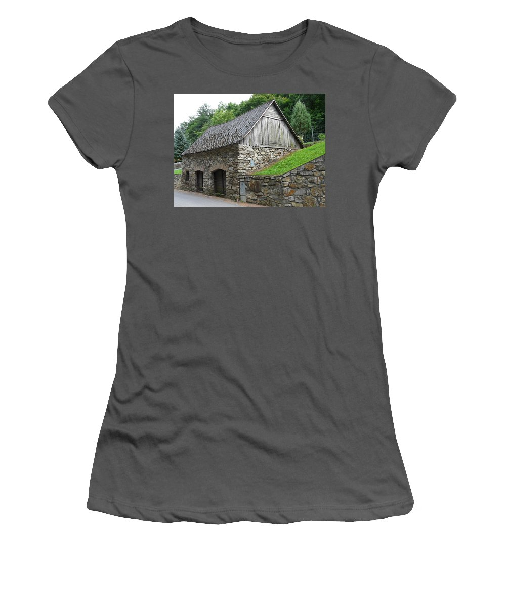 Old Women's T-Shirt (Athletic Fit) featuring the photograph Old Austrian Barn by Valerie Ornstein