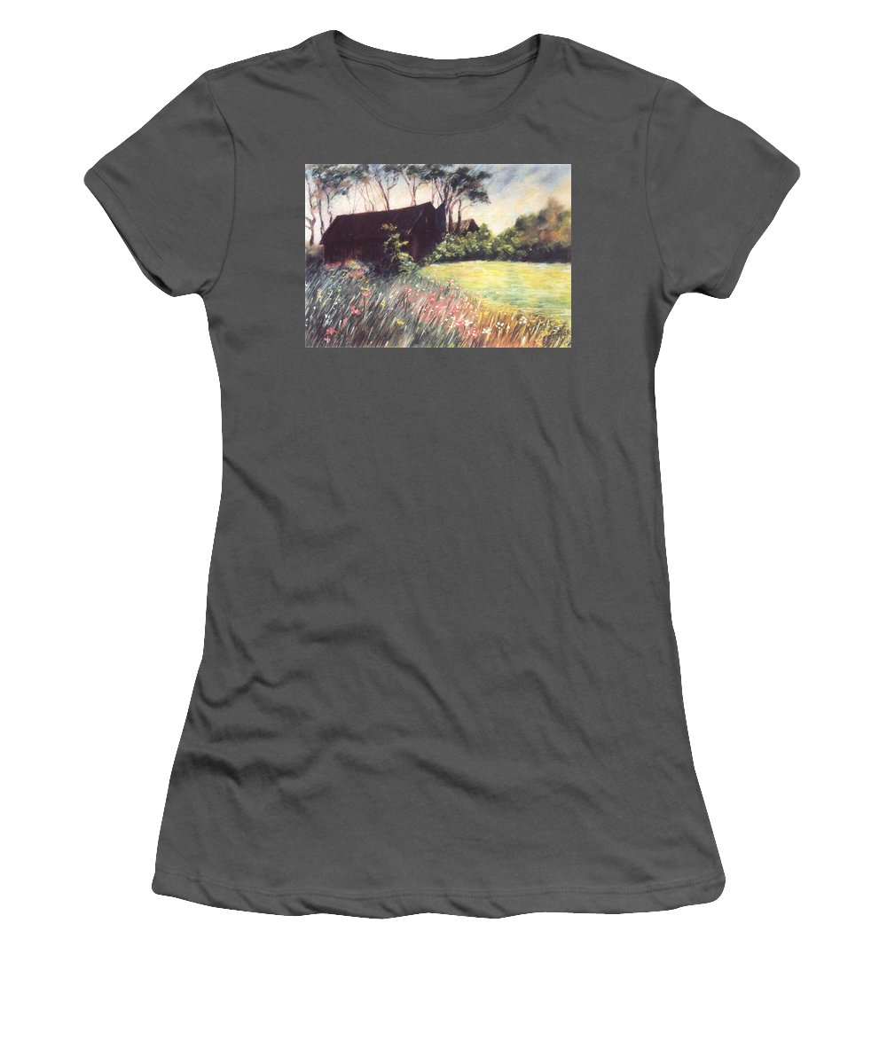 Barn Flowers Wildflowers Women's T-Shirt (Athletic Fit) featuring the pastel Old Barn And Wildflowers by Pat Snook