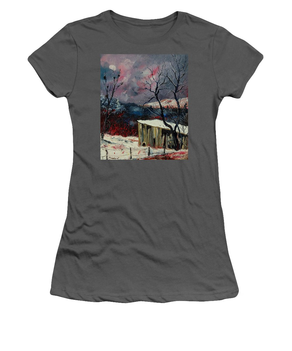 Winter Women's T-Shirt (Athletic Fit) featuring the painting Old Barn In Winter by Pol Ledent