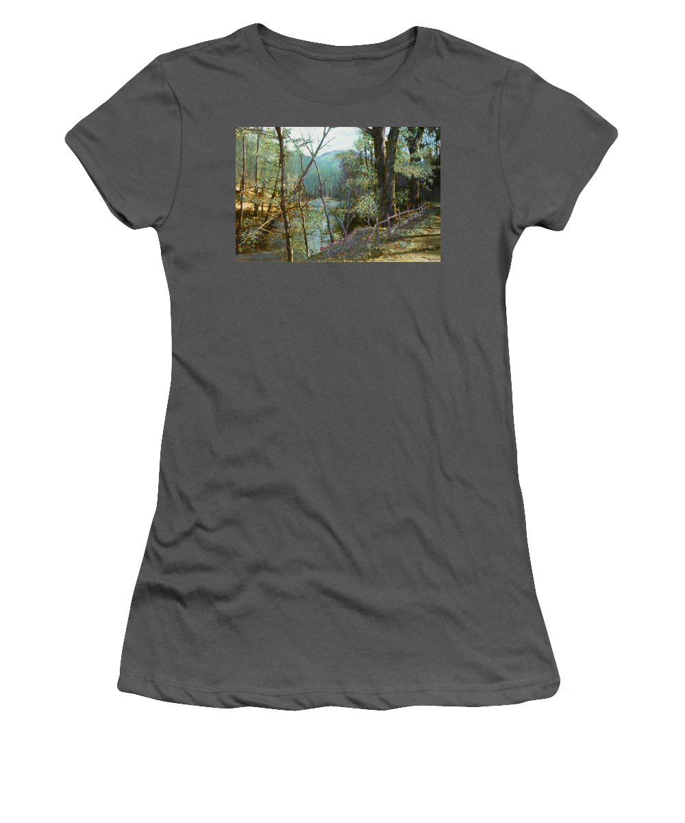 River; Trees; Landscape Women's T-Shirt (Athletic Fit) featuring the painting Old Man River by Ben Kiger