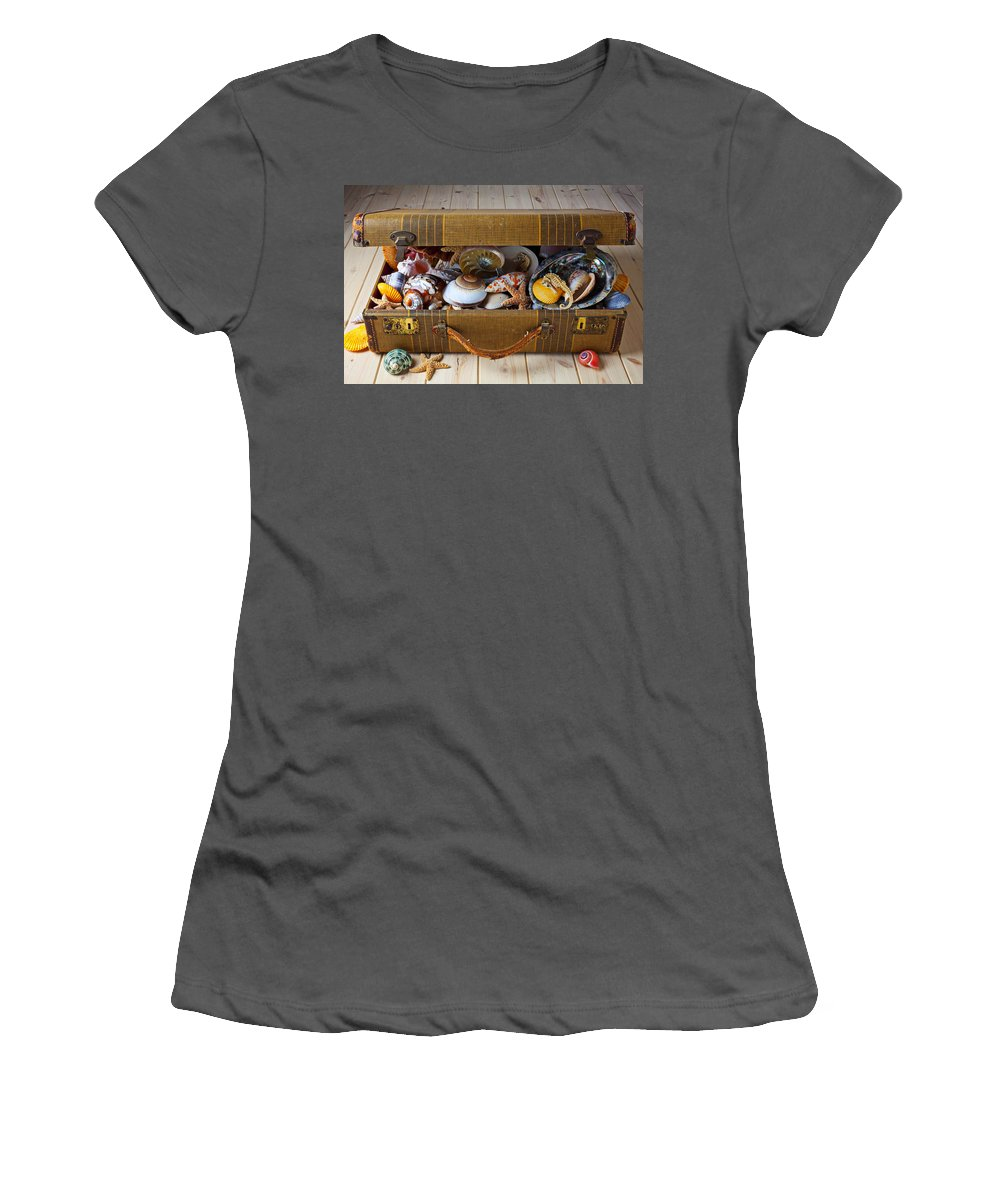 Suitcase Full Sea Shells Travel Women's T-Shirt (Athletic Fit) featuring the photograph Old Suitcase Full Of Sea Shells by Garry Gay