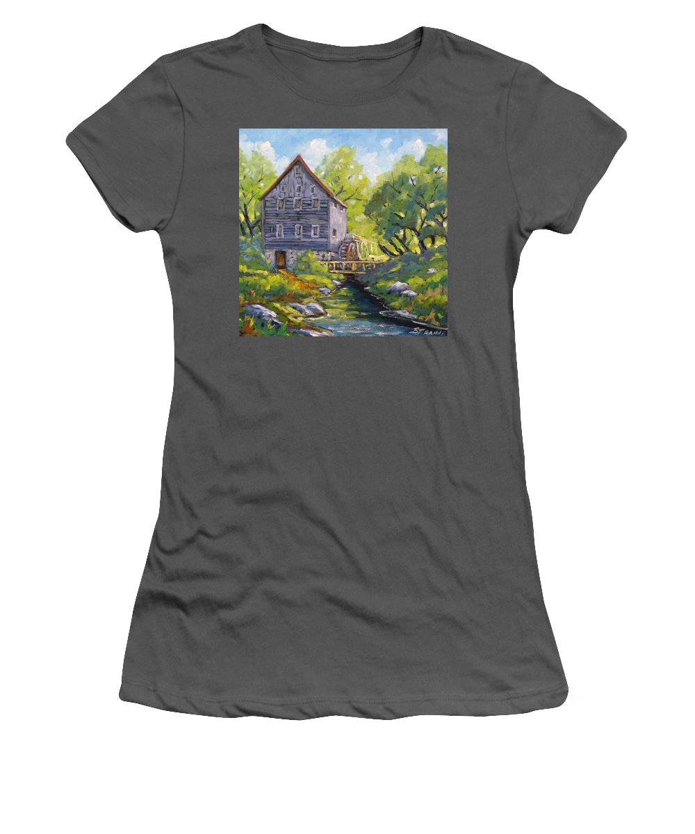 Art Women's T-Shirt (Athletic Fit) featuring the painting Old Watermill by Richard T Pranke