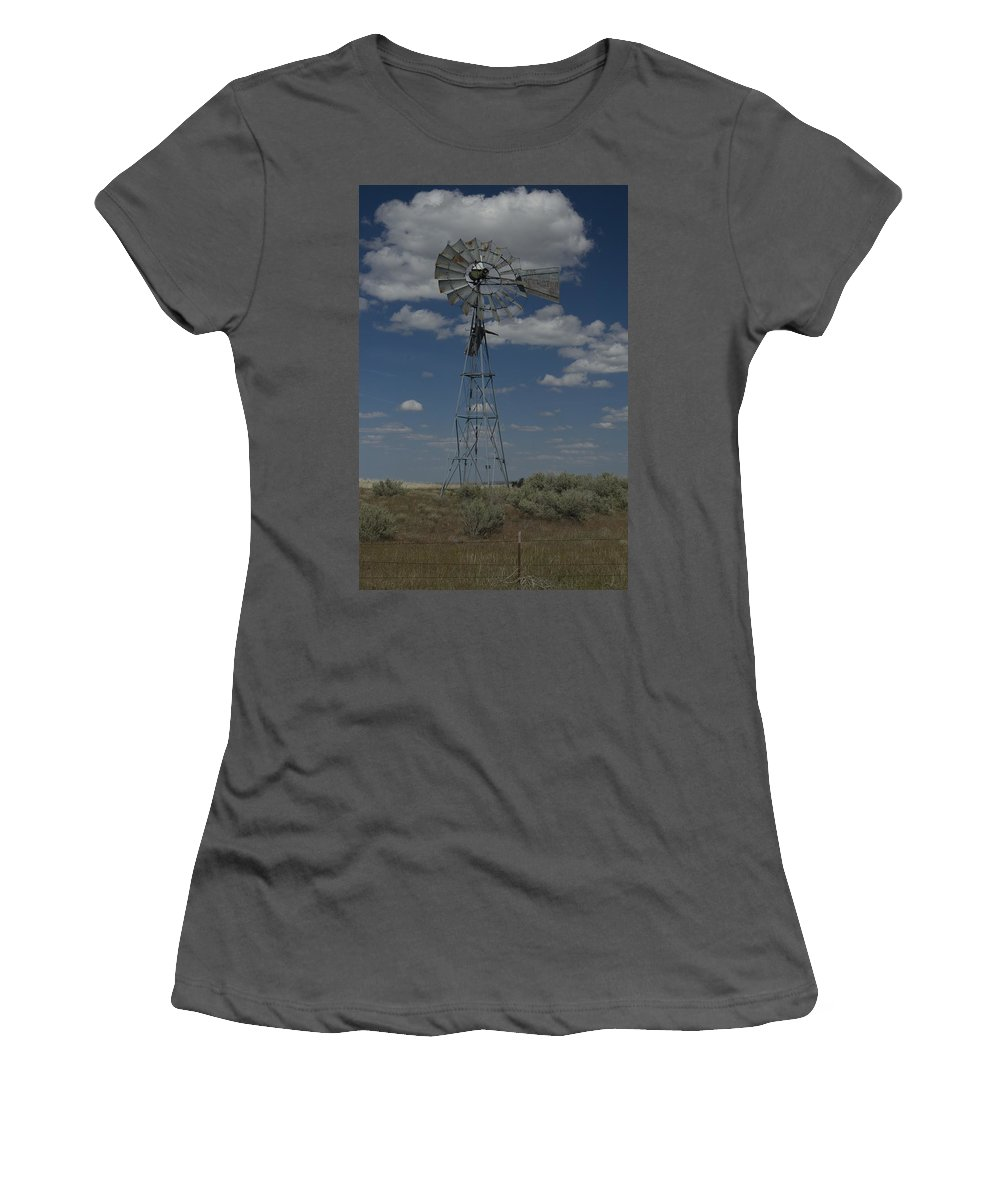 Windmill Women's T-Shirt (Athletic Fit) featuring the photograph Old Windmill 2 by Sara Stevenson