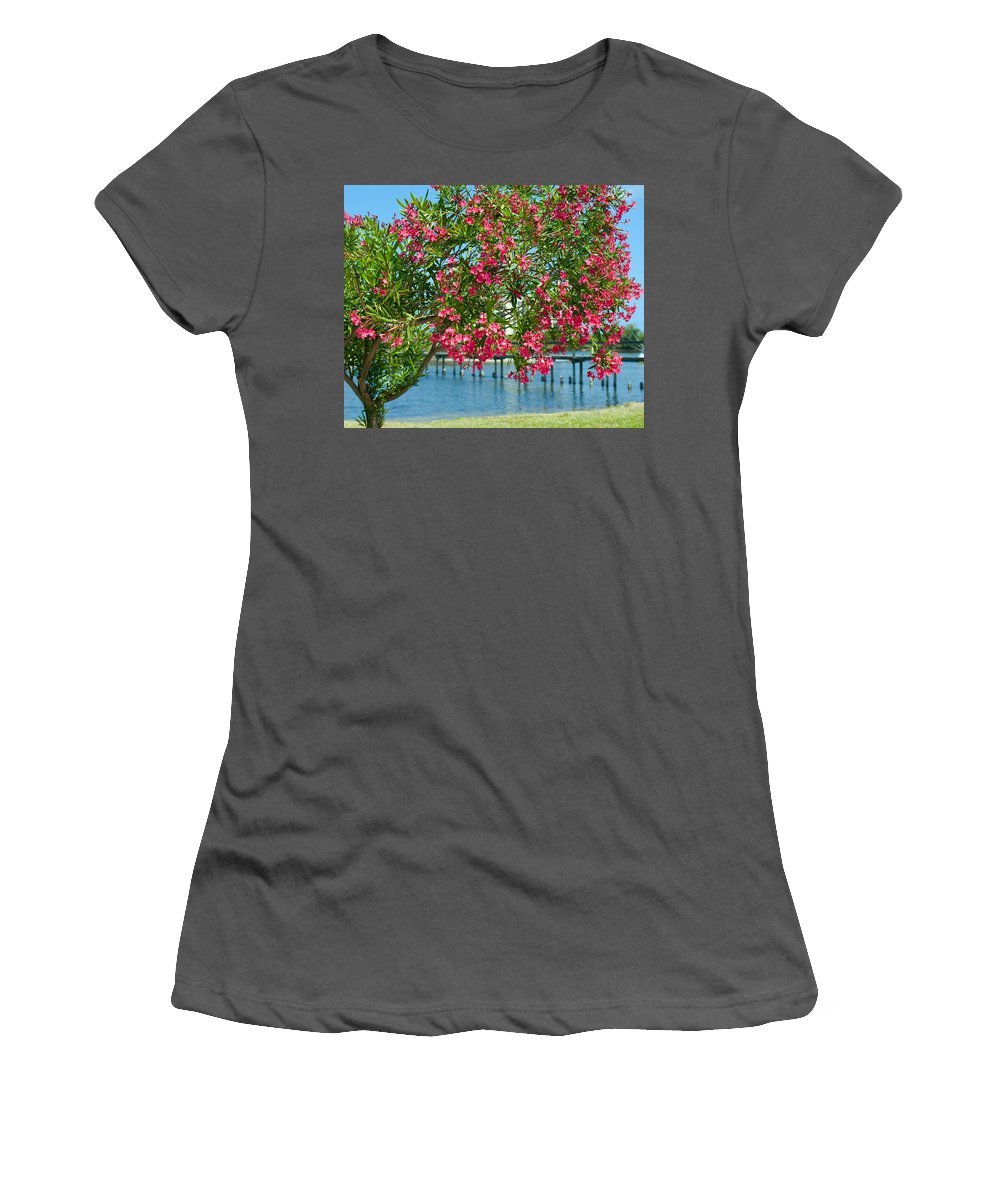 Florida; Indian; River; Melbourne; Nerium; Oleander; Red; Pink; Flower; Bush; Shrub; Poison; Poisono Women's T-Shirt (Athletic Fit) featuring the photograph Oleander On Melbourne Harbor In Florida by Allan Hughes