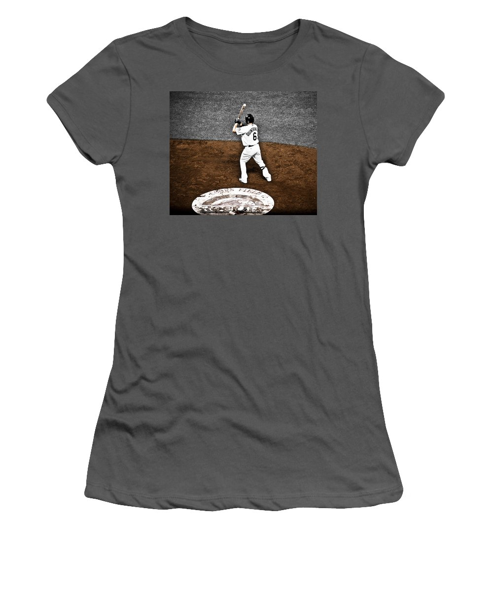 Baseball Women's T-Shirt (Athletic Fit) featuring the photograph Omar Quintanilla Pro Baseball Player by Marilyn Hunt
