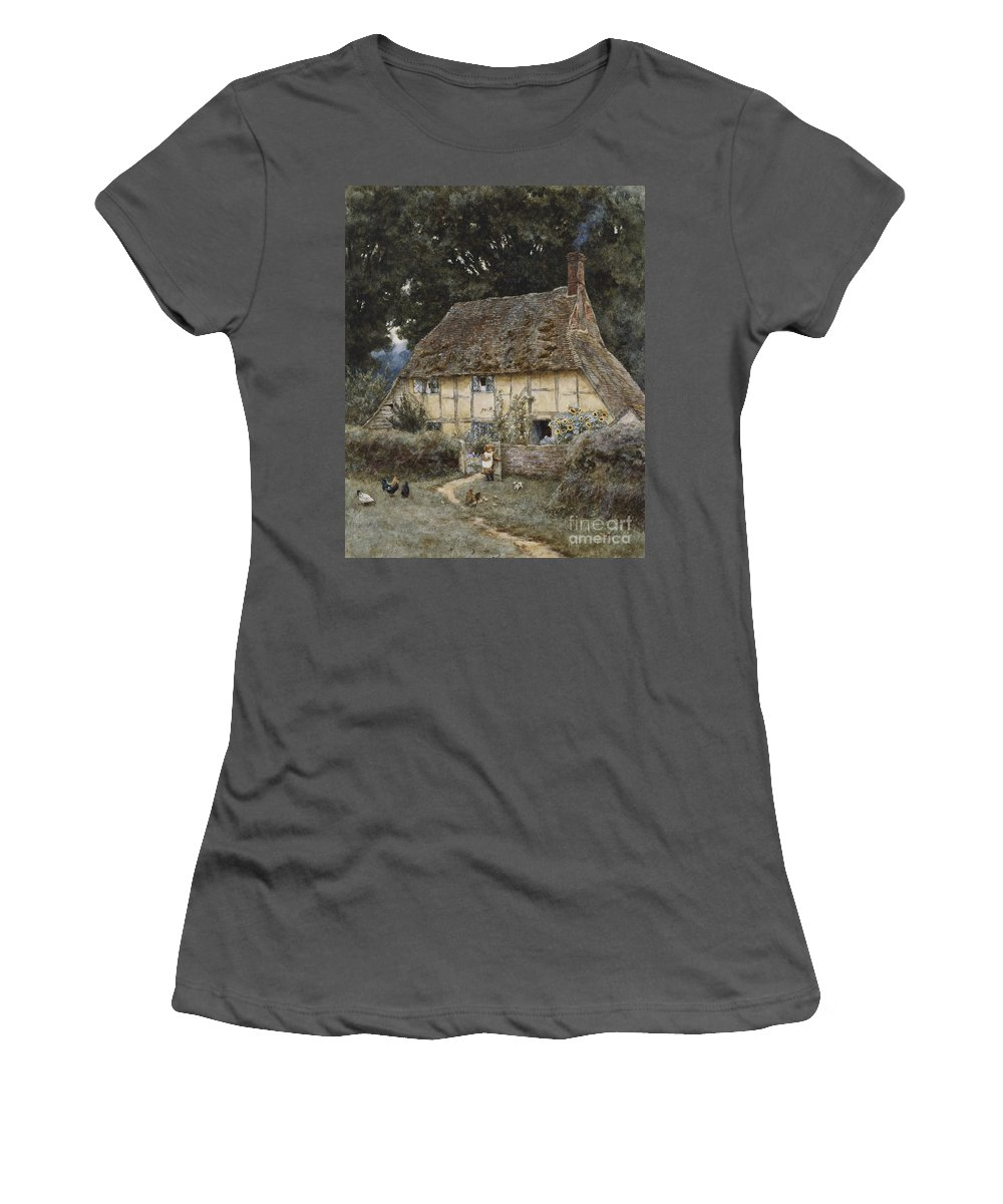 English; Landscape; Cottage; Path; Garden; Half-timbered; Wood;woods; Chickens; Rural; Child;f Eeding; C19th; C20th; Victorian Women's T-Shirt (Athletic Fit) featuring the painting On The Brook Road Near Witley by Helen Allingham