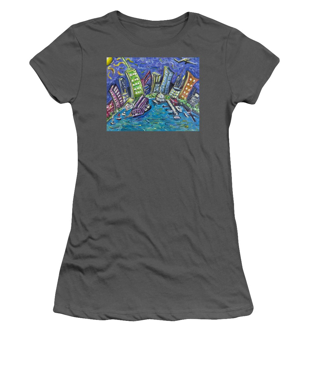 New York City Women's T-Shirt (Athletic Fit) featuring the painting On The Hudson by Jason Gluskin