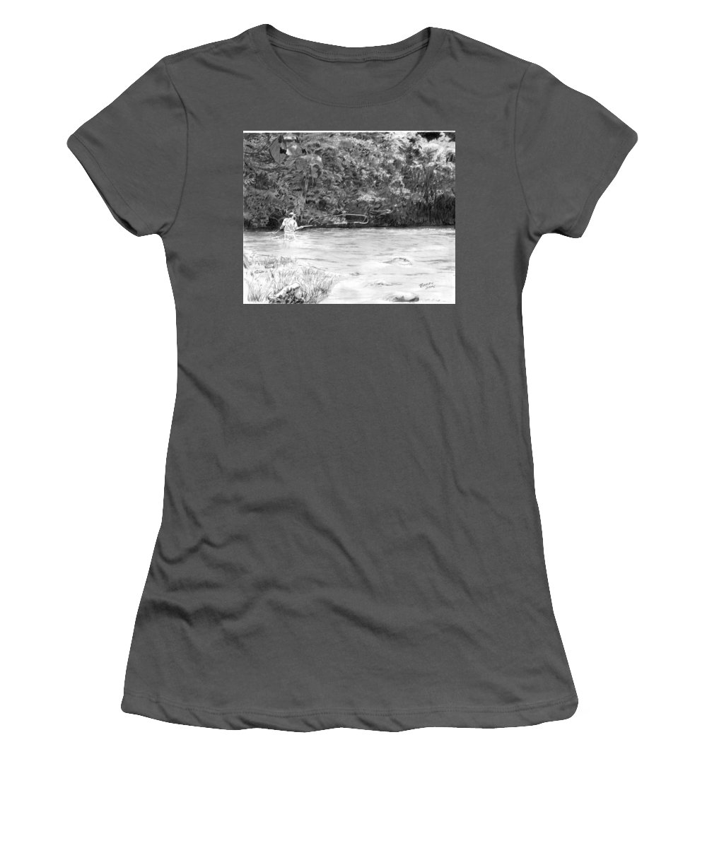 Flyfishing Women's T-Shirt (Athletic Fit) featuring the drawing One More Cast by Barry Jones