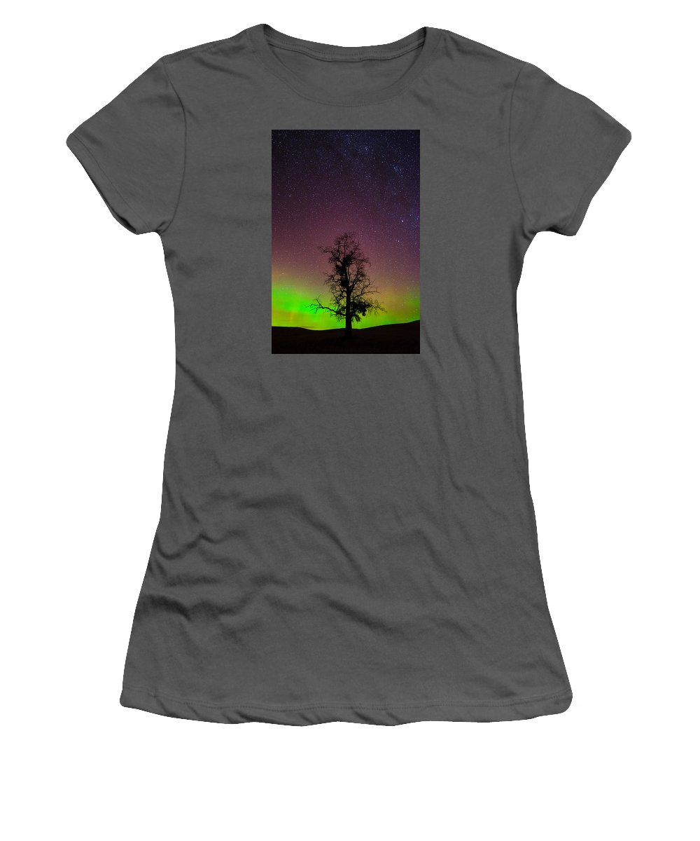 Palouse Rolling Hills Night Images Women's T-Shirt (Athletic Fit) featuring the photograph One Tree One Night On The Palouse by Francisco Aguilar