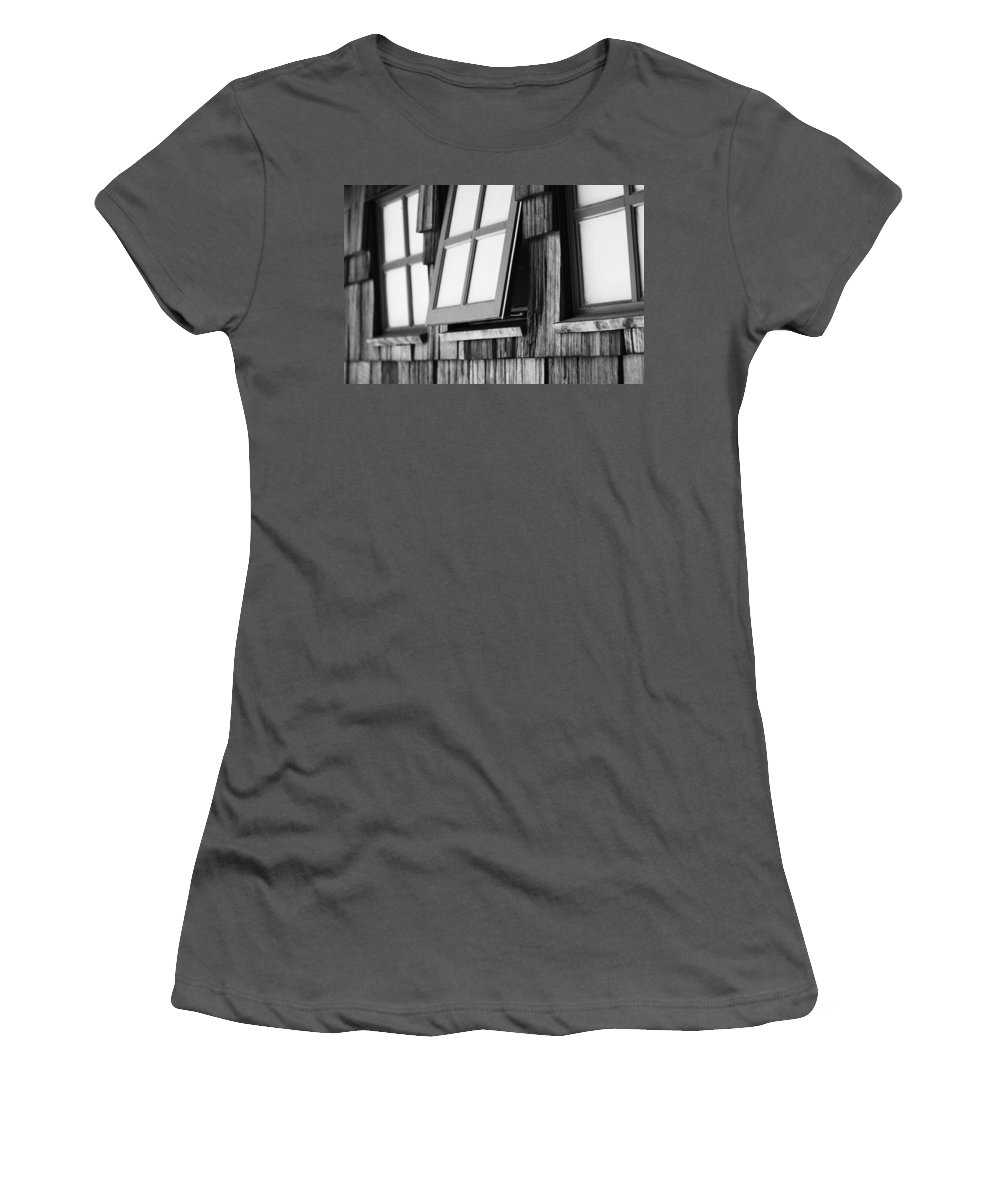 Black And White Women's T-Shirt (Athletic Fit) featuring the photograph Open Black And White by Jill Reger