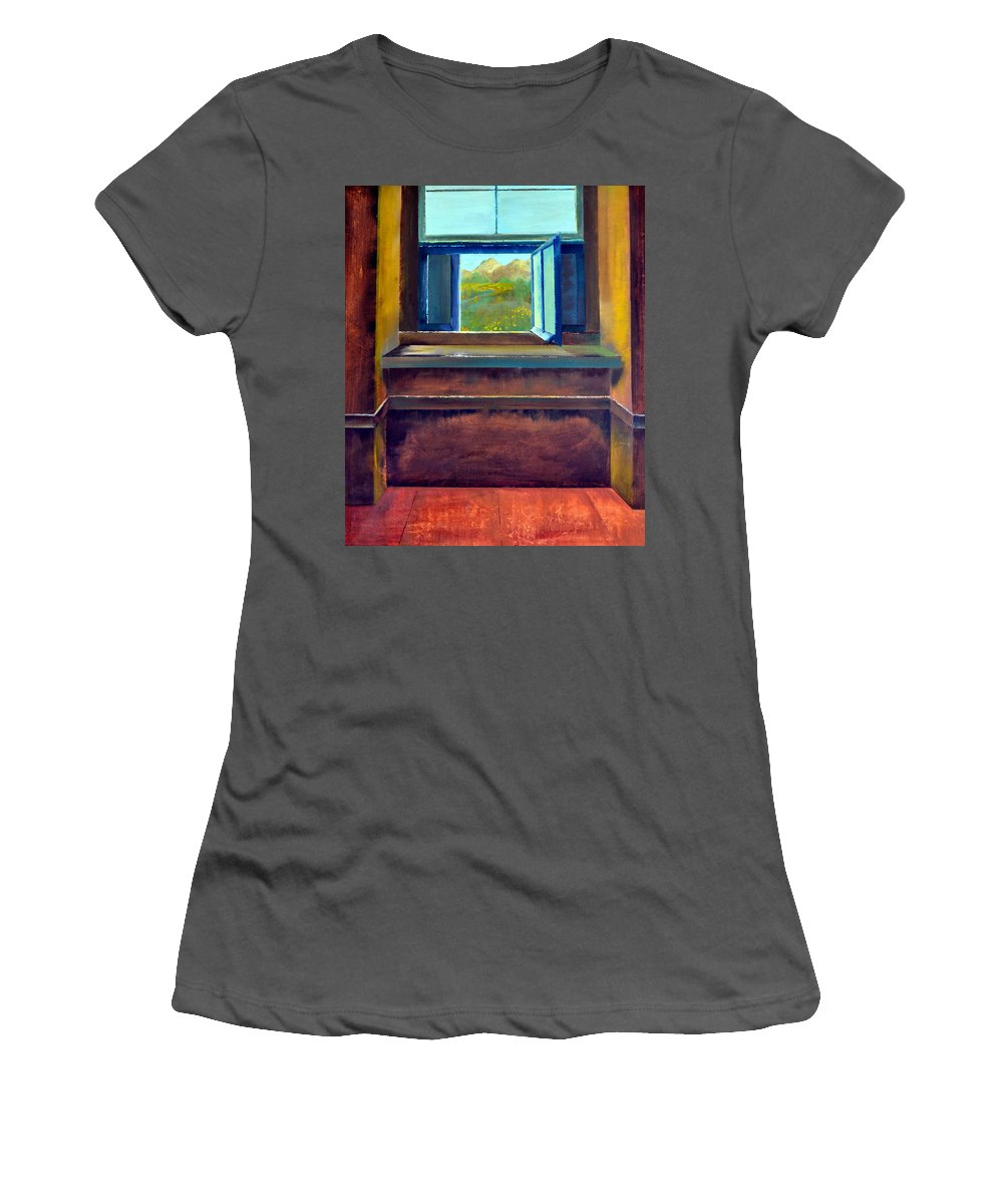 Trompe L'oeil Women's T-Shirt (Athletic Fit) featuring the painting Open Window by Michelle Calkins