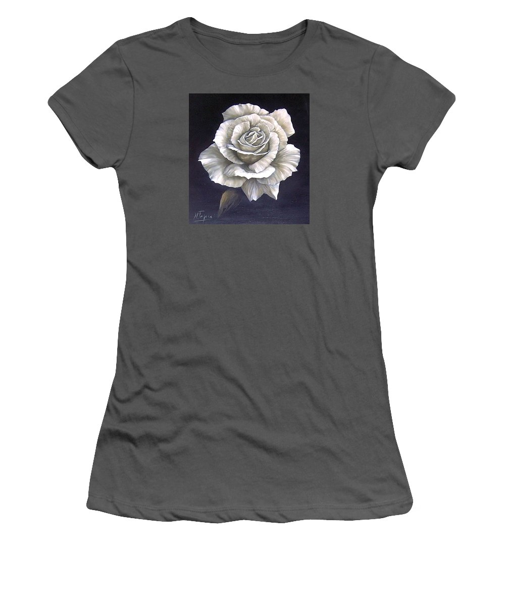 Rose Flower Women's T-Shirt (Athletic Fit) featuring the painting Opened Rose by Natalia Tejera
