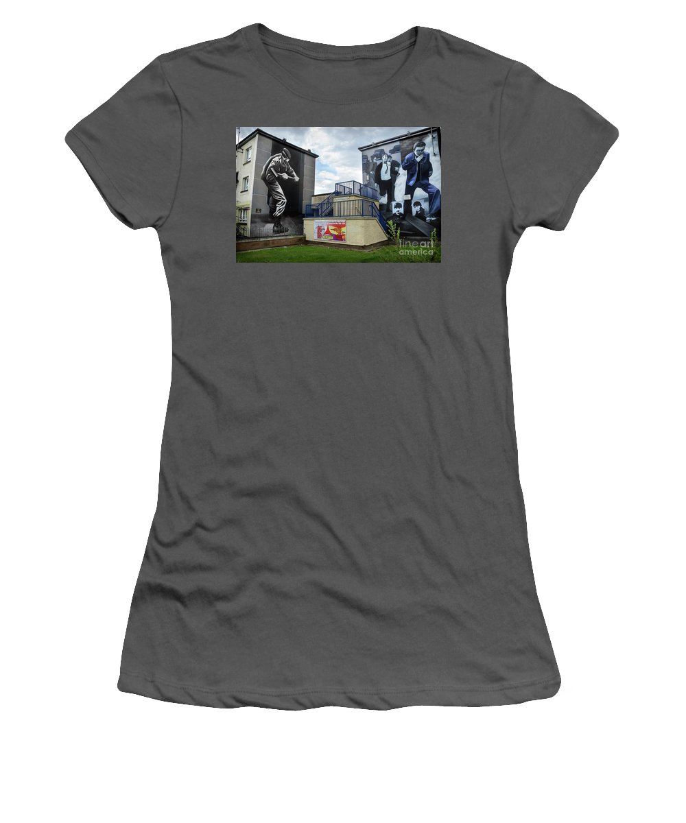 Ireland Women's T-Shirt (Athletic Fit) featuring the photograph Operation Motorman Mural In Derry by RicardMN Photography