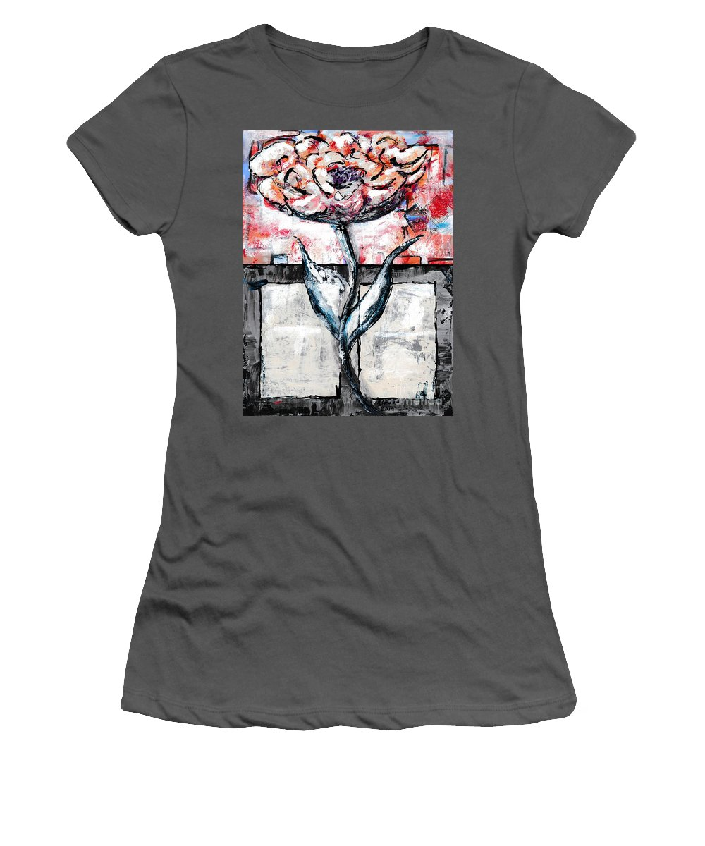 Abstract Women's T-Shirt (Athletic Fit) featuring the painting Orange And Gray by Ronda Breen