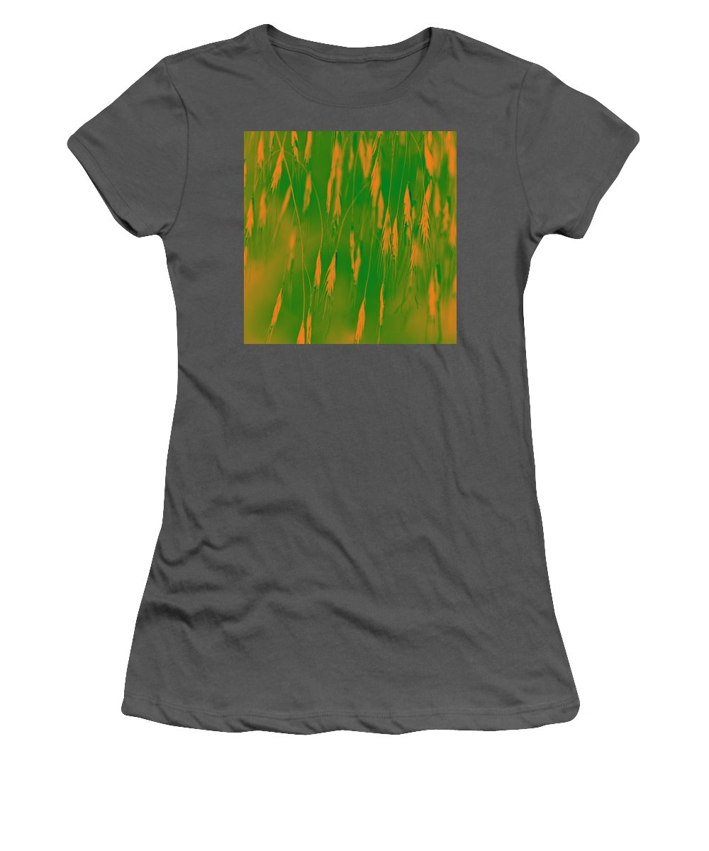 Grass Women's T-Shirt (Athletic Fit) featuring the photograph Orange Grass Spikes by Heiko Koehrer-Wagner