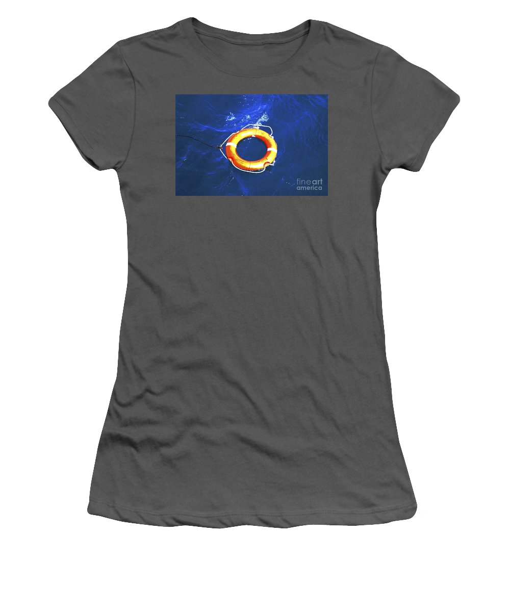 Orange Women's T-Shirt (Athletic Fit) featuring the photograph Orange Life Buoy In Blue Water by Jacki Costi