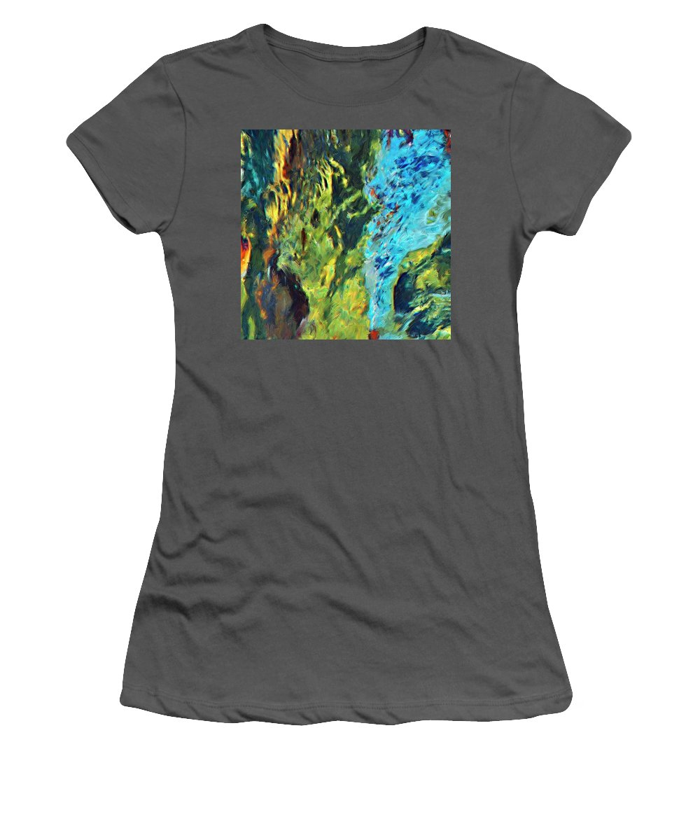 Abstract Women's T-Shirt (Athletic Fit) featuring the painting Origins by Dominic Piperata