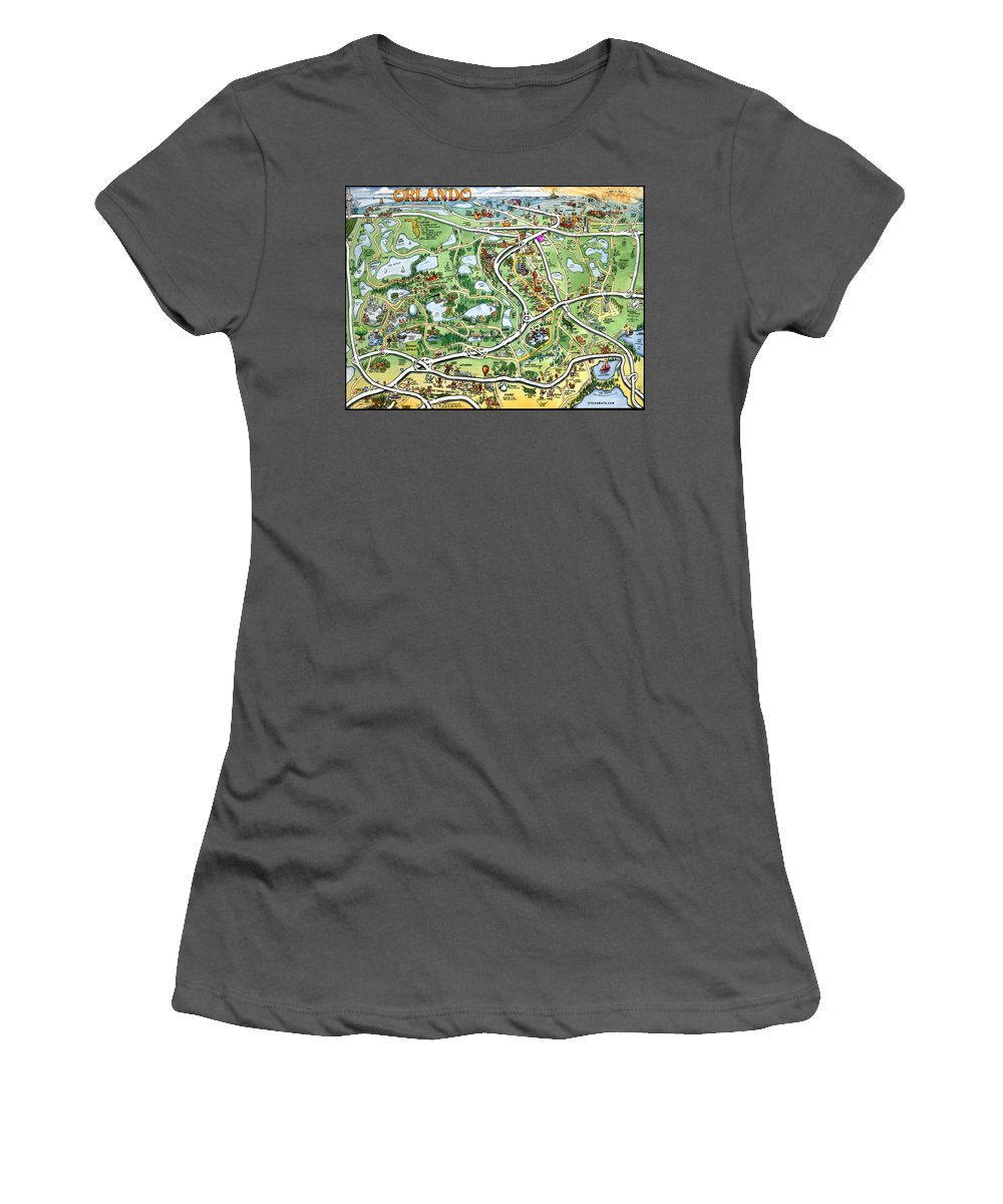 Orlando Women's T-Shirt (Athletic Fit) featuring the digital art Orlando Florida Cartoon Map by Kevin Middleton