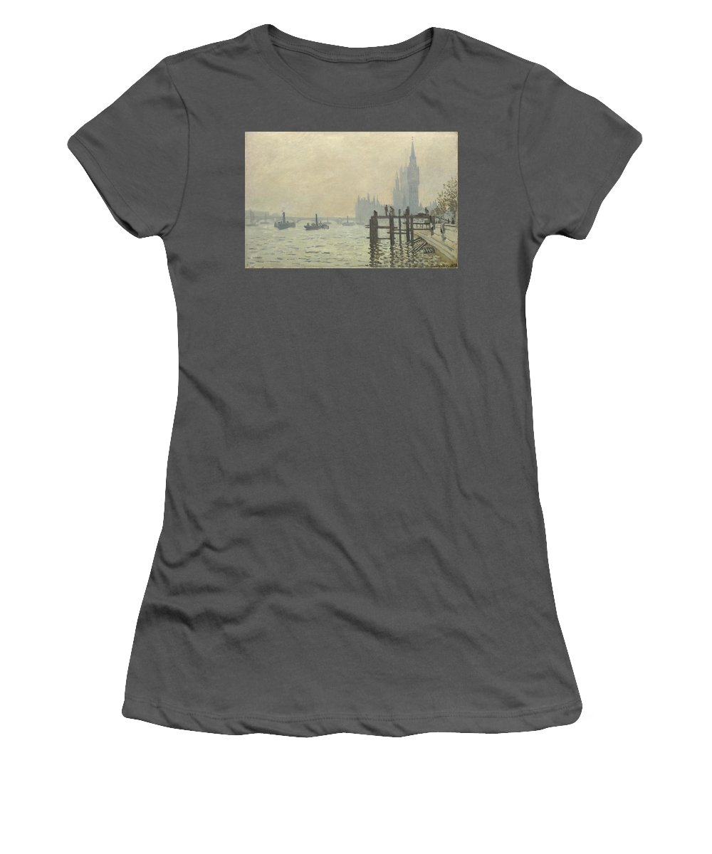 Claude Women's T-Shirt (Athletic Fit) featuring the digital art Oscar Monet  The Thames Below Westminster by PixBreak Art