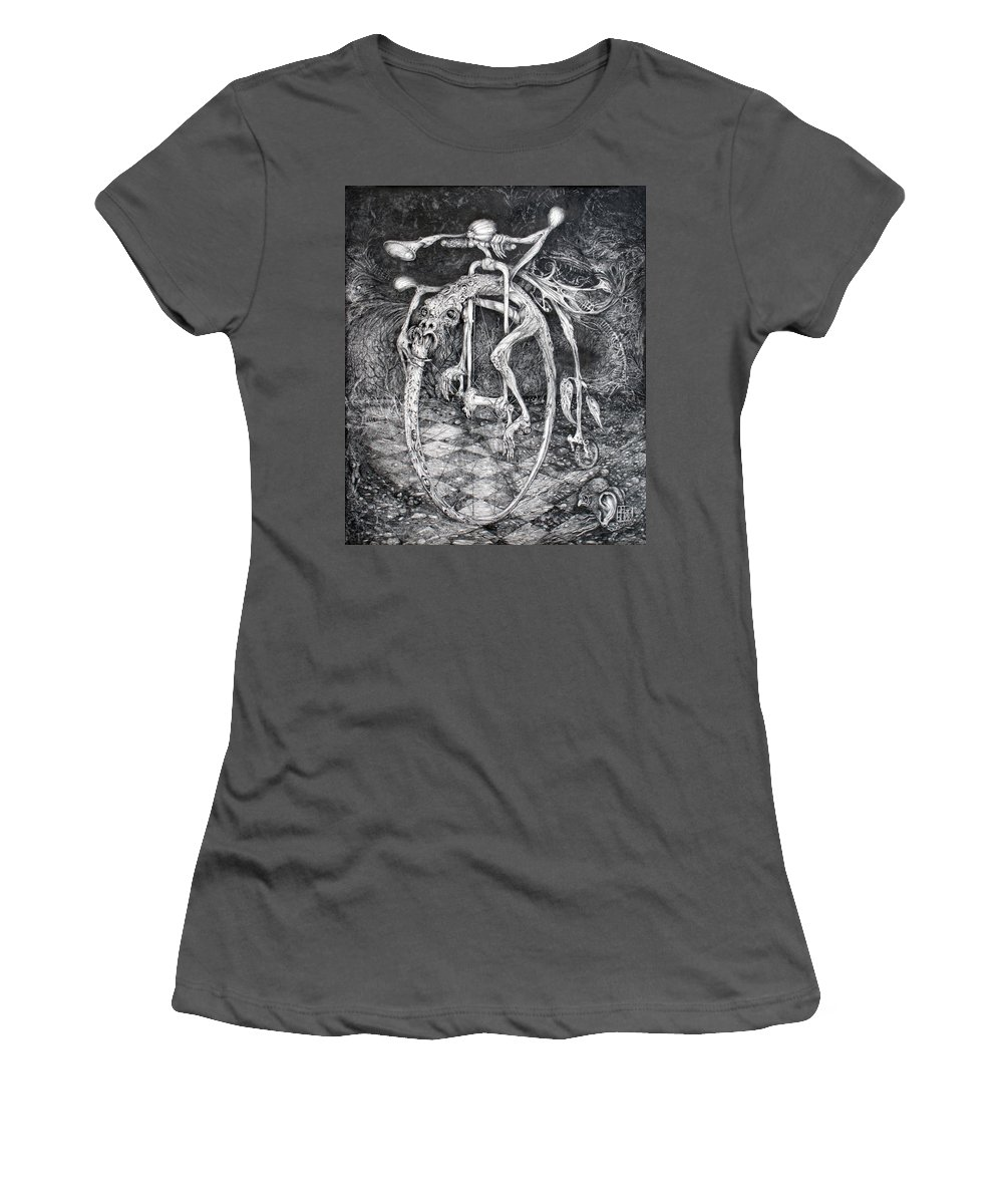 Ouroboros Women's T-Shirt (Athletic Fit) featuring the drawing Ouroboros Perpetual Motion Machine by Otto Rapp