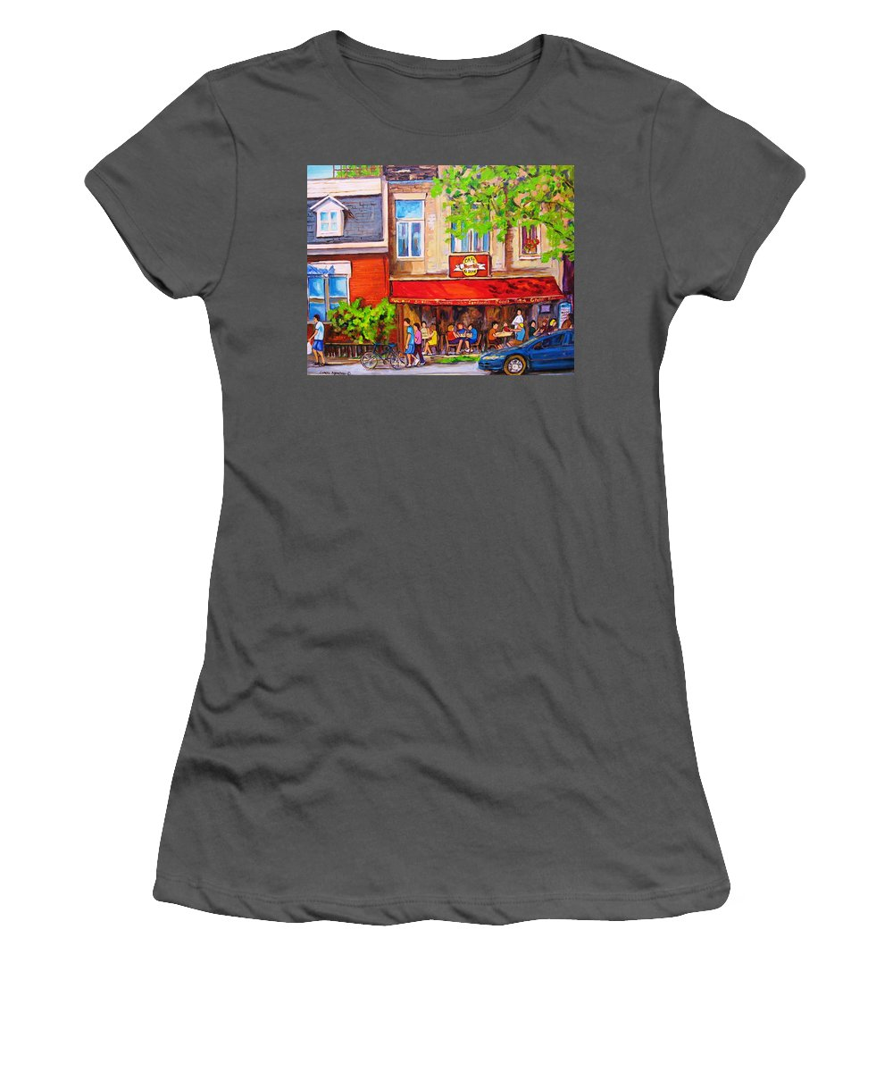 Montreal Women's T-Shirt (Athletic Fit) featuring the painting Outdoor Cafe by Carole Spandau