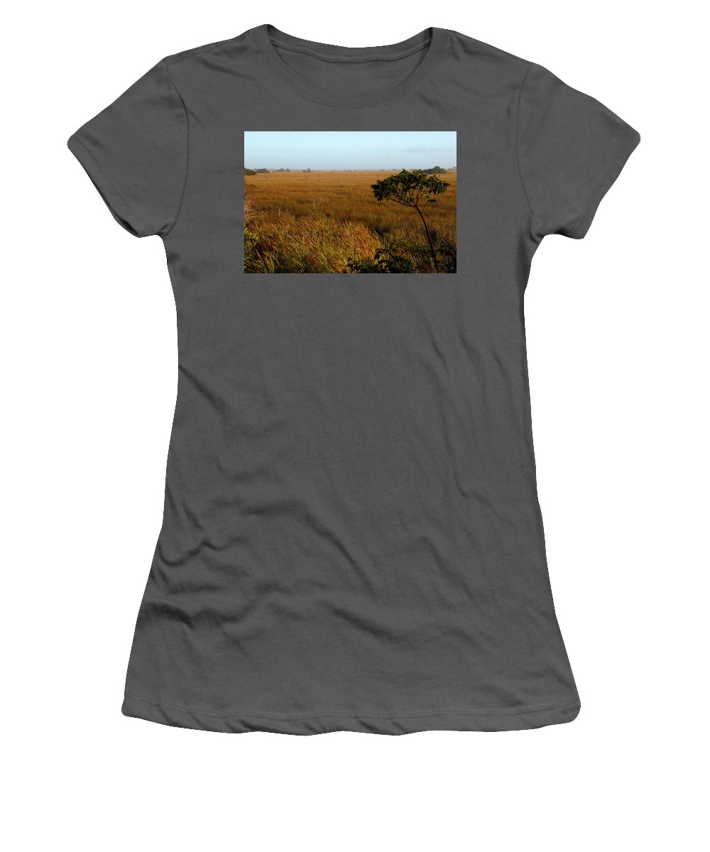 Everglades Women's T-Shirt (Athletic Fit) featuring the painting Pahayokee by David Lee Thompson