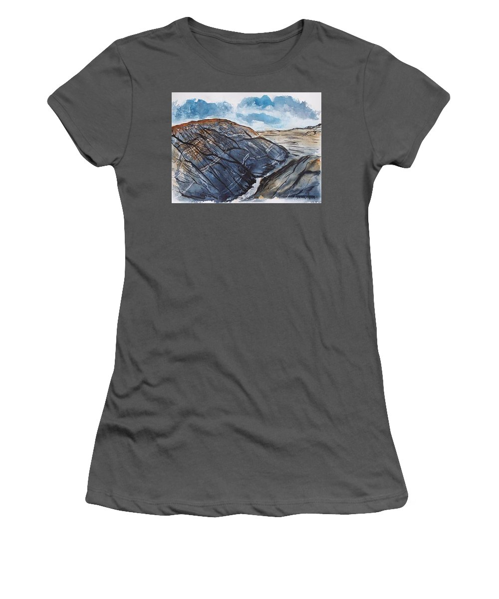 Plein Air Women's T-Shirt (Athletic Fit) featuring the painting Painted Desert Landscape Mountain Desert Fine Art by Derek Mccrea
