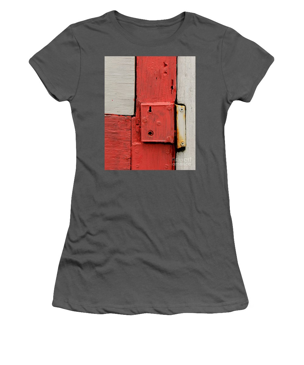 Lock Women's T-Shirt (Athletic Fit) featuring the photograph Painted Lock by Perry Webster