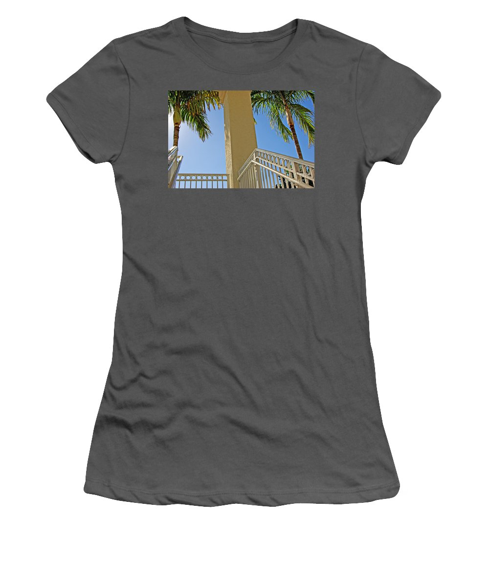 Palm Women's T-Shirt (Athletic Fit) featuring the photograph Palms And Stairs by Zalman Latzkovich