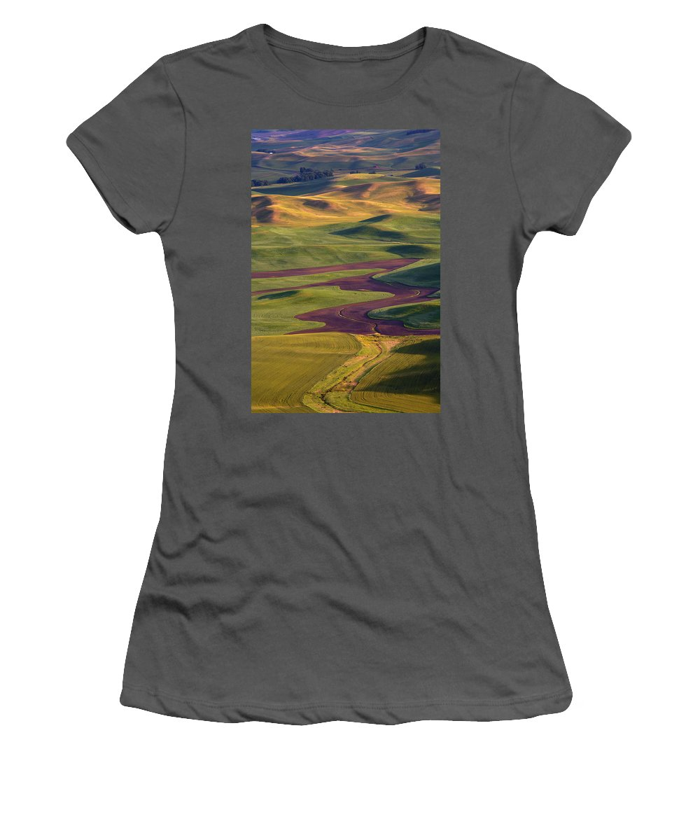 Palouse; Hills Women's T-Shirt (Athletic Fit) featuring the photograph Palouse Hills by Mike Dawson