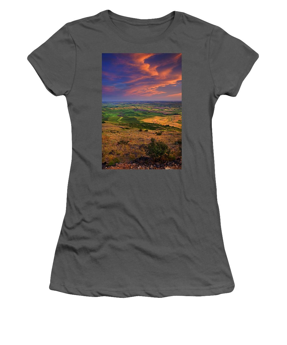 Palouse Women's T-Shirt (Athletic Fit) featuring the photograph Palouse Skies Ablaze by Mike Dawson