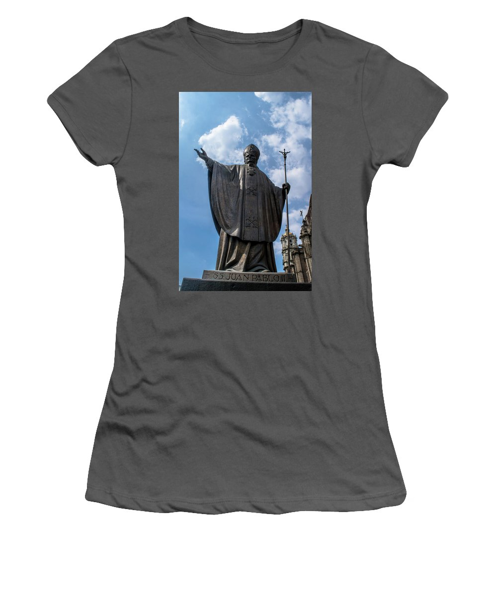 Basilica De Guadalupe Women's T-Shirt (Athletic Fit) featuring the photograph Papa Juan Pablo II - Mexico City II by Totto Ponce
