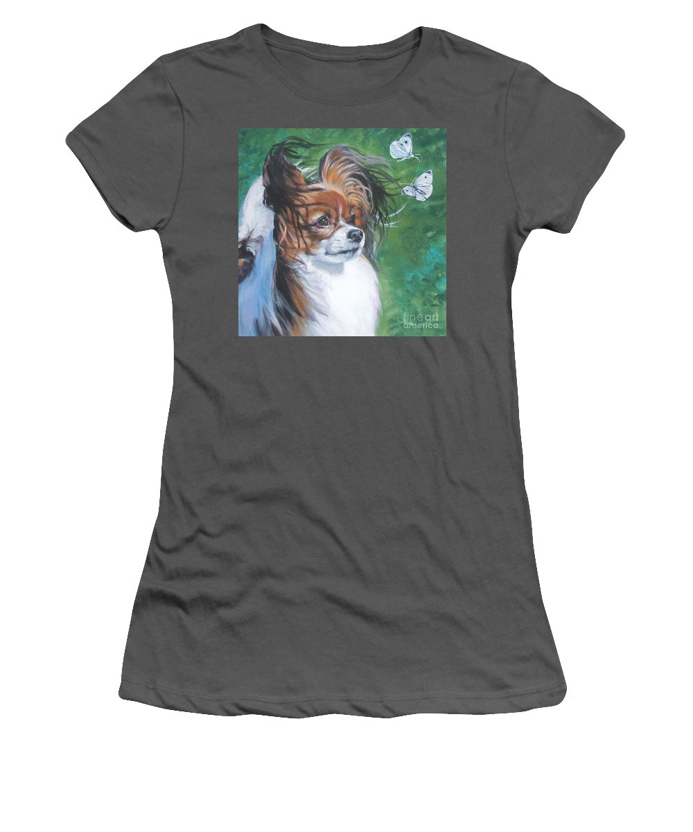 Dog Women's T-Shirt (Athletic Fit) featuring the painting Papillon And Butterflies by Lee Ann Shepard