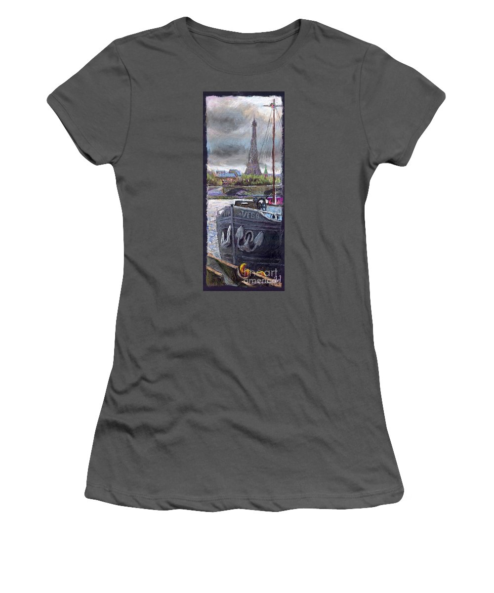 Pastel Women's T-Shirt (Athletic Fit) featuring the painting Paris Pont Alexandre IIi by Yuriy Shevchuk