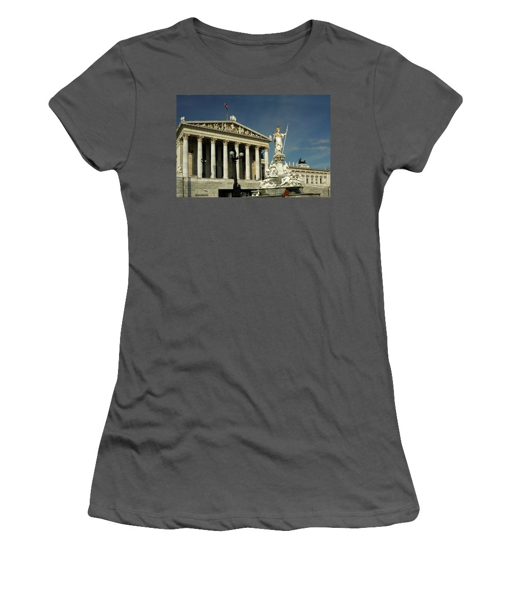 Parliament Women's T-Shirt (Athletic Fit) featuring the photograph Parliament In Vienna Austria by Sally Weigand