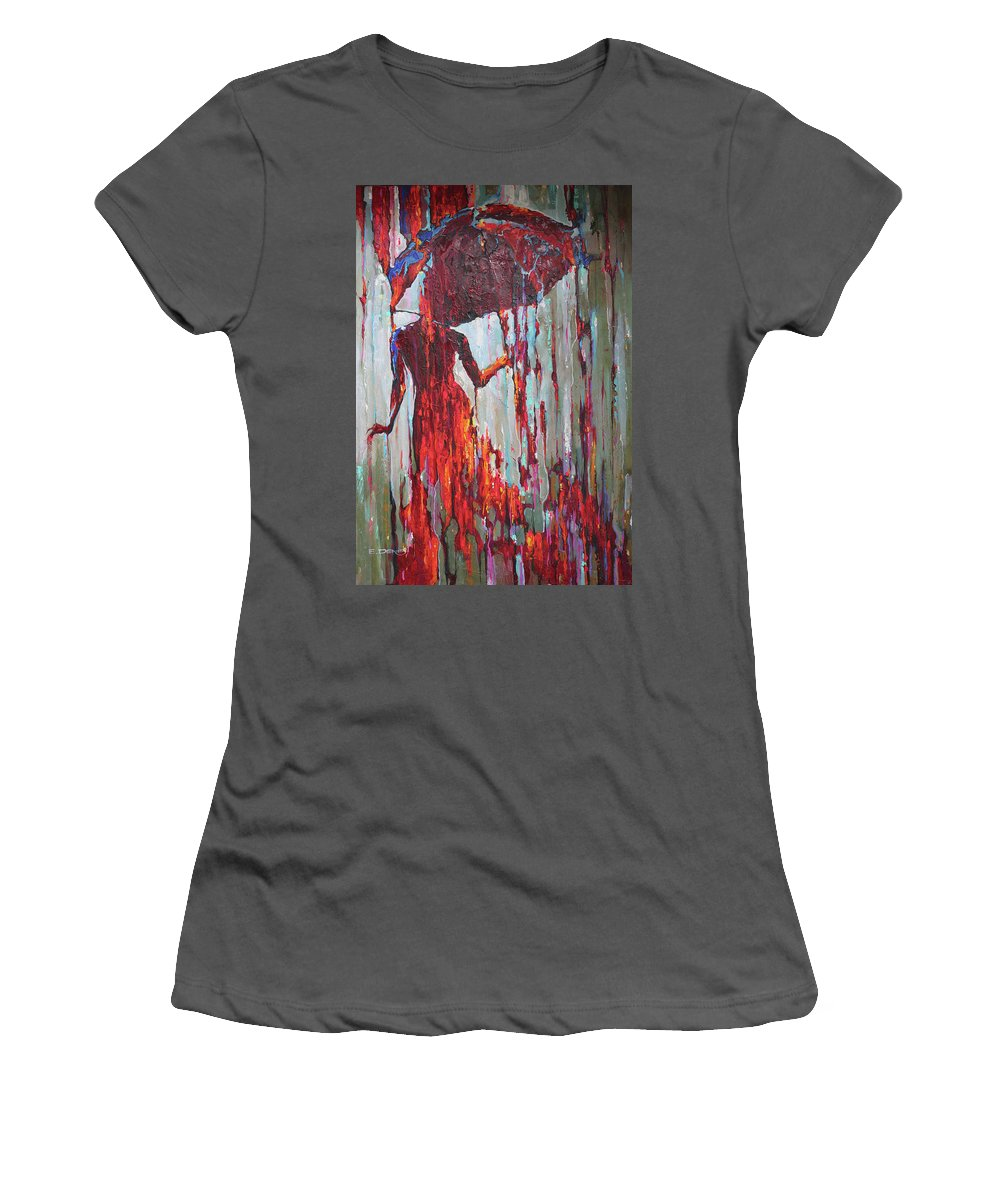 Women's T-Shirt (Athletic Fit) featuring the painting Passion Hurricane by Denis Eutikhiev