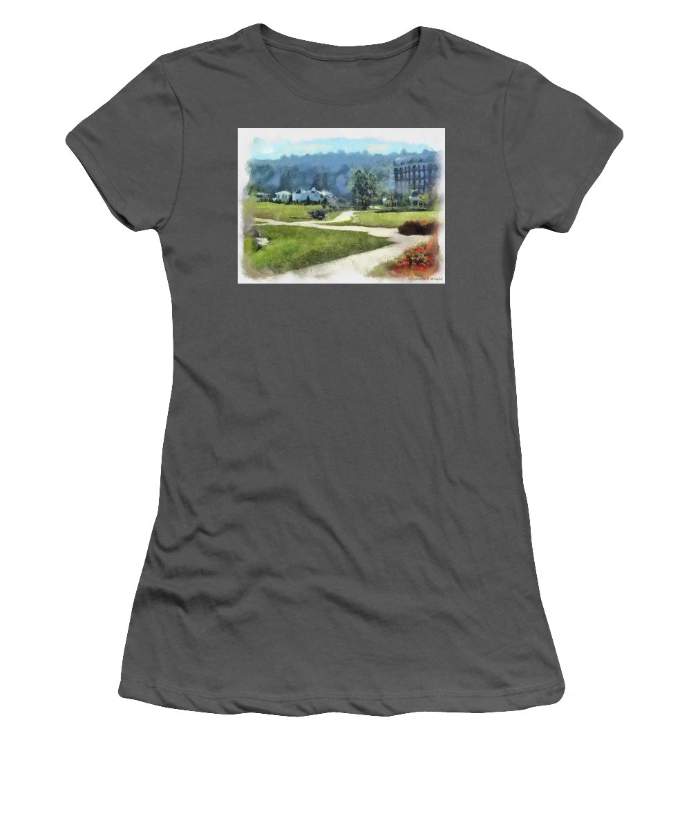 Homestead Women's T-Shirt (Athletic Fit) featuring the painting Pathways by Paulette B Wright