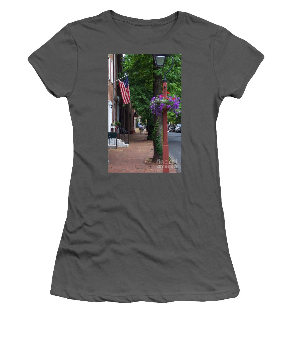 Cityscape Women's T-Shirt (Athletic Fit) featuring the photograph Patriotic Street In Philadelphia by Debbi Granruth