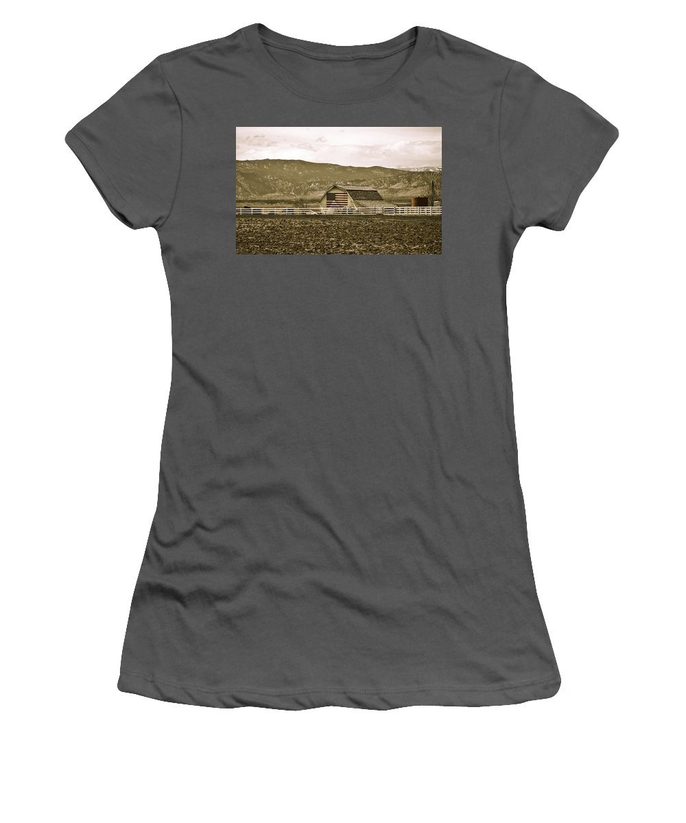 Americana Women's T-Shirt (Athletic Fit) featuring the photograph Patriotism And Barn by Marilyn Hunt