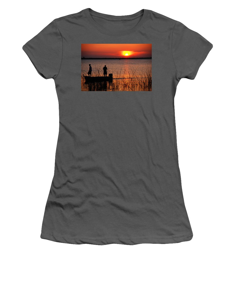 Landscape Women's T-Shirt (Athletic Fit) featuring the photograph Peace Over The Water by Susanne Van Hulst