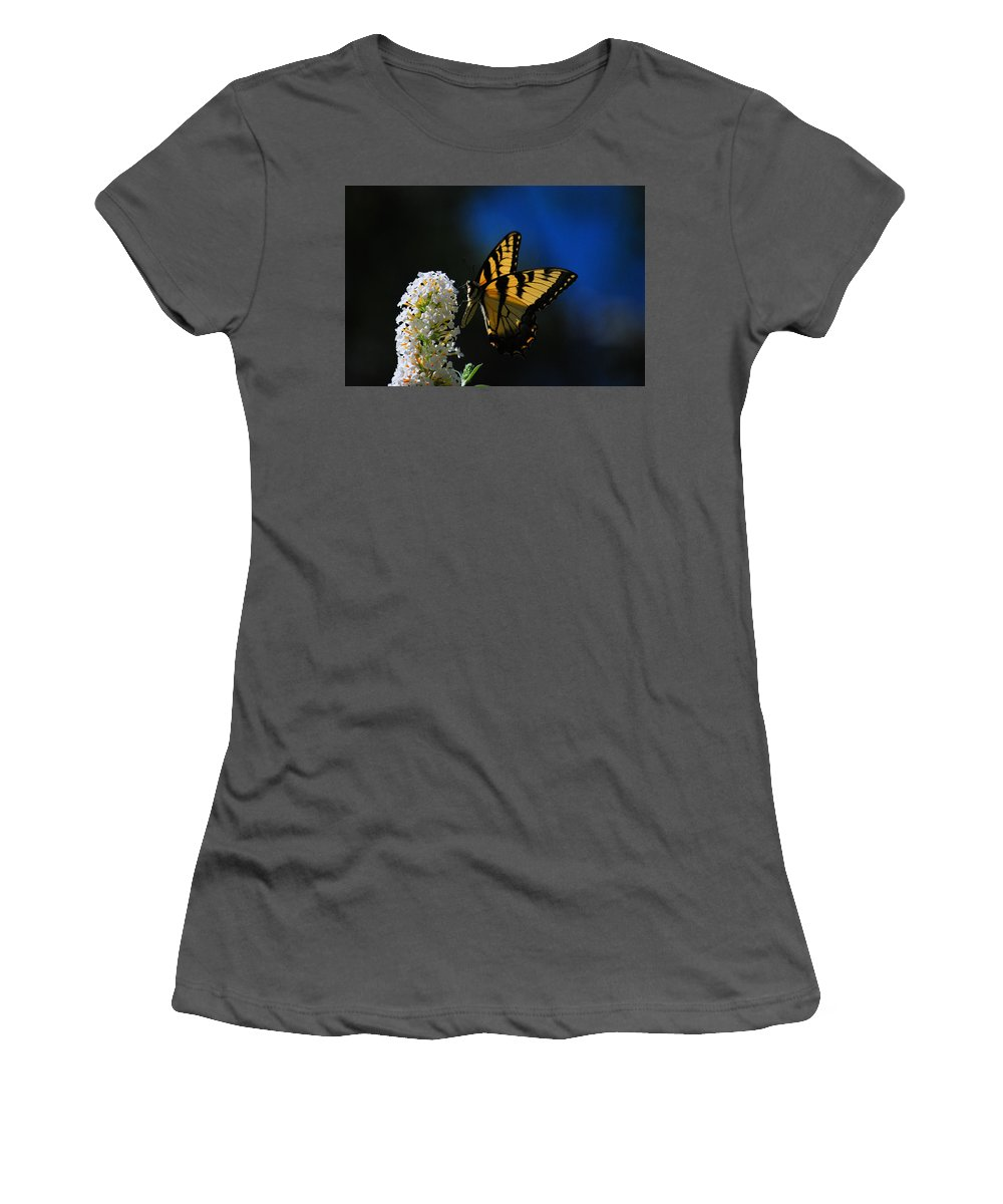 Swallowtail Women's T-Shirt (Athletic Fit) featuring the photograph Peaceful Moment by Lori Tambakis