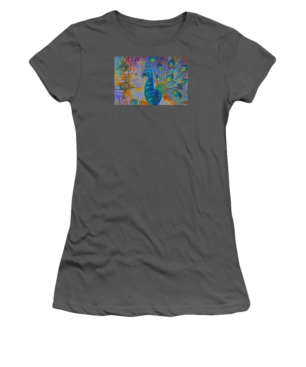 Peacock Women's T-Shirt (Athletic Fit) featuring the painting Peacock by Amy Jo Lillich