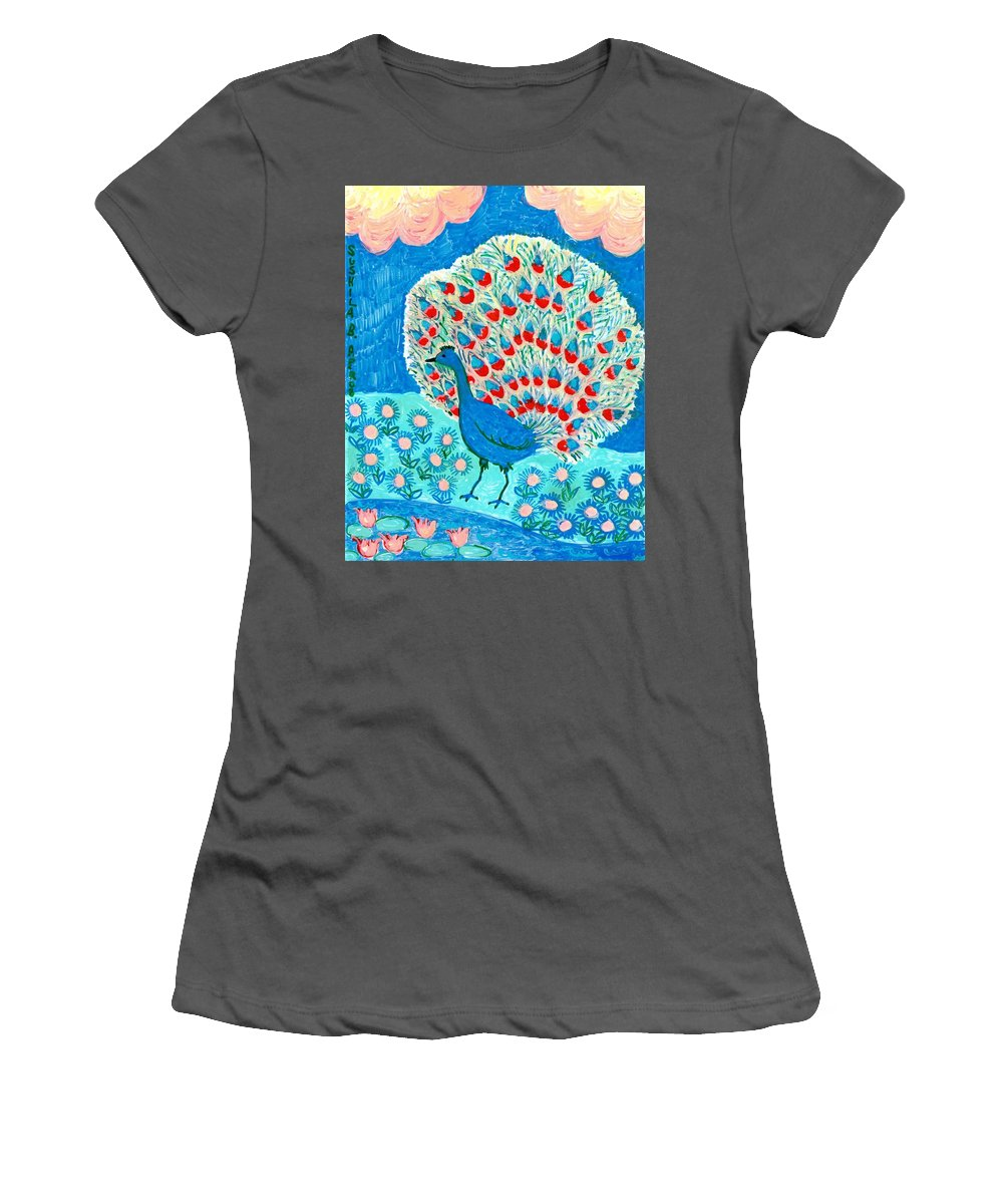 Sue Burgess Women's T-Shirt (Athletic Fit) featuring the painting Peacock And Lily Pond by Sushila Burgess
