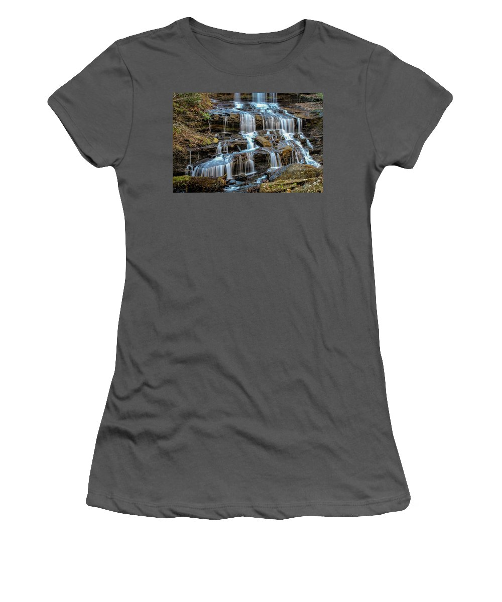 North Carolina Women's T-Shirt (Athletic Fit) featuring the photograph Pearson's Falls by Teresa Solesbee