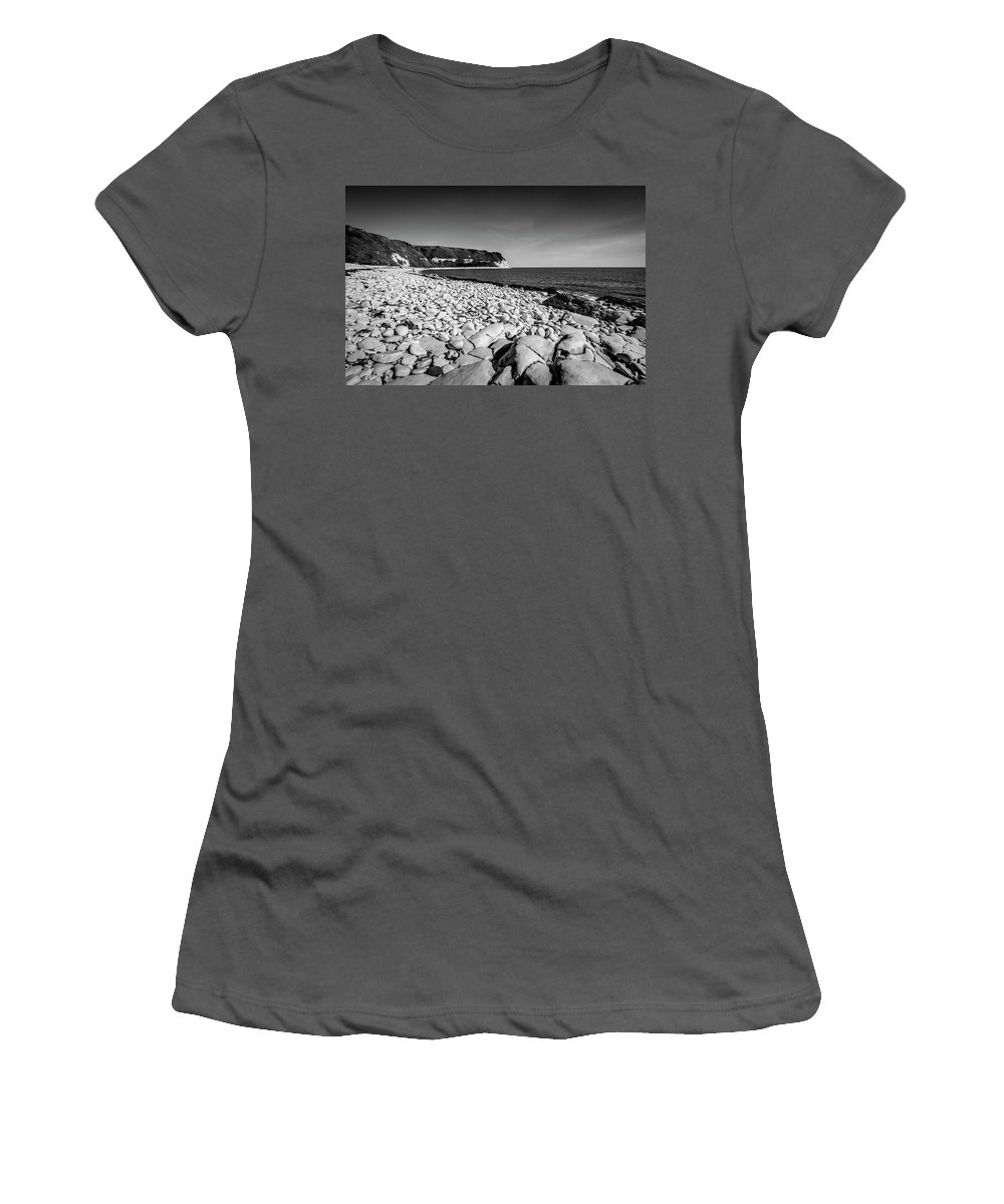 Pebble Beach Women's T-Shirt (Athletic Fit) featuring the photograph Pebble Beach At Flamborough. by Steve Whitham