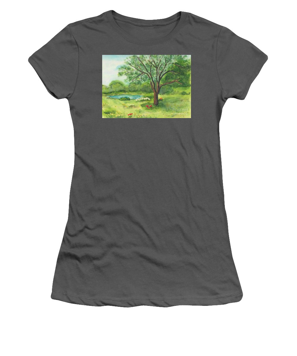 Landscape Women's T-Shirt (Athletic Fit) featuring the painting Pedro's Tree by Vicki Housel