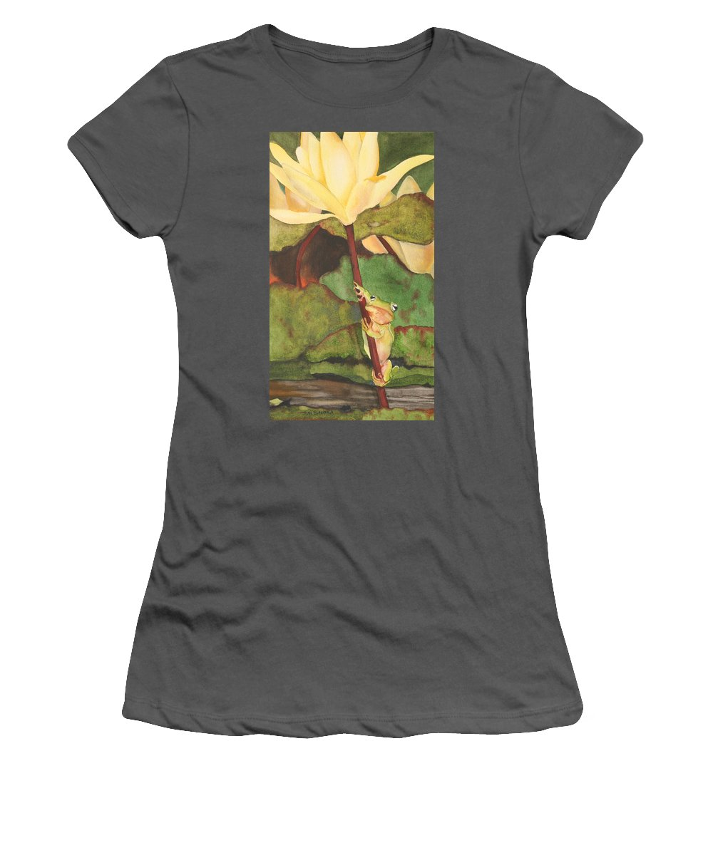 Frog Women's T-Shirt (Athletic Fit) featuring the painting Peeping Tom by Jean Blackmer