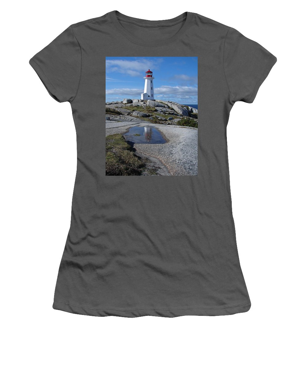 Seascape Women's T-Shirt (Athletic Fit) featuring the photograph Peggys Cove Nova Scotia Canada by Heather Coen